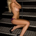 Lauren Pope on Metal Stairs
